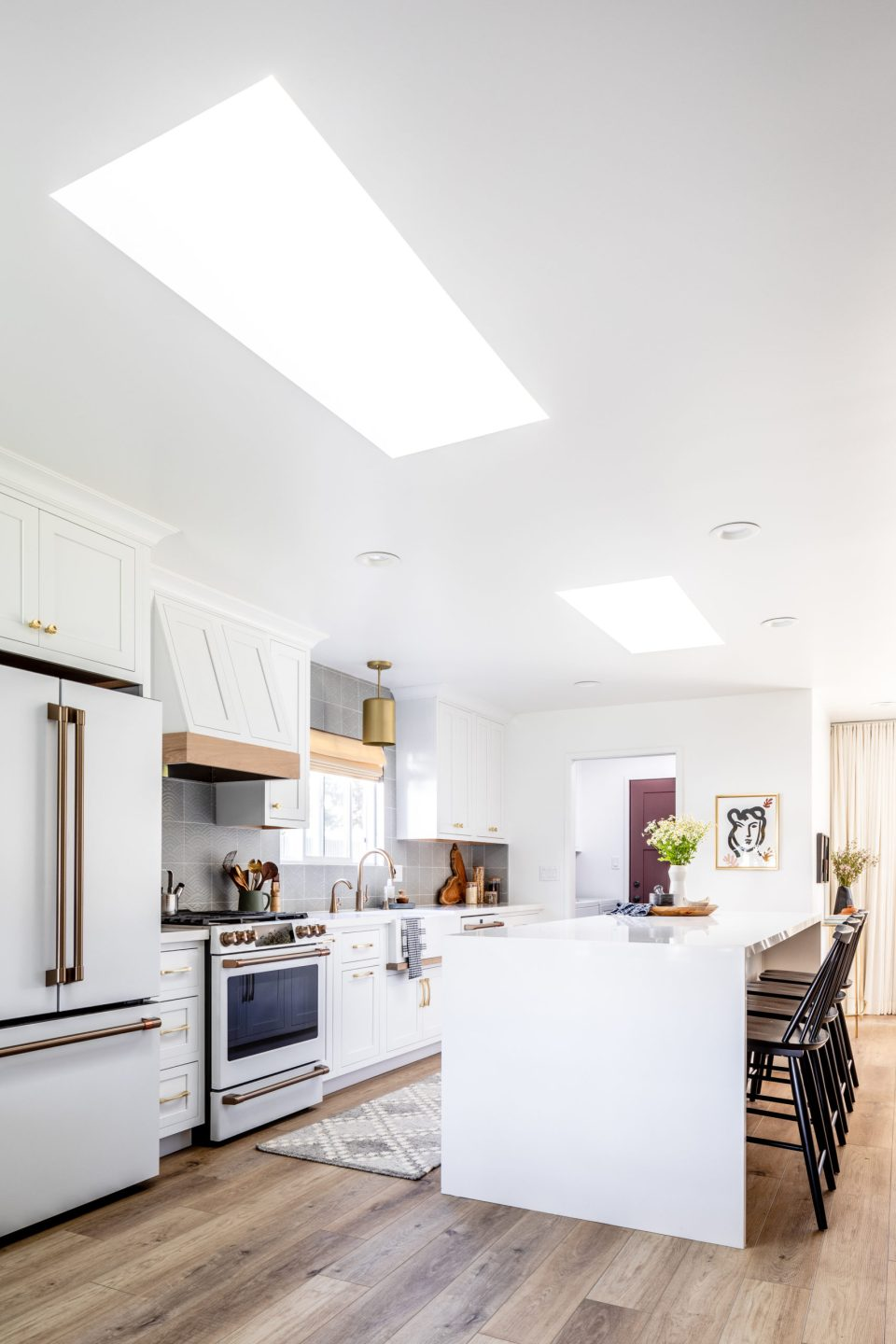 Skylights illuminate this kitchen from wall to wall
