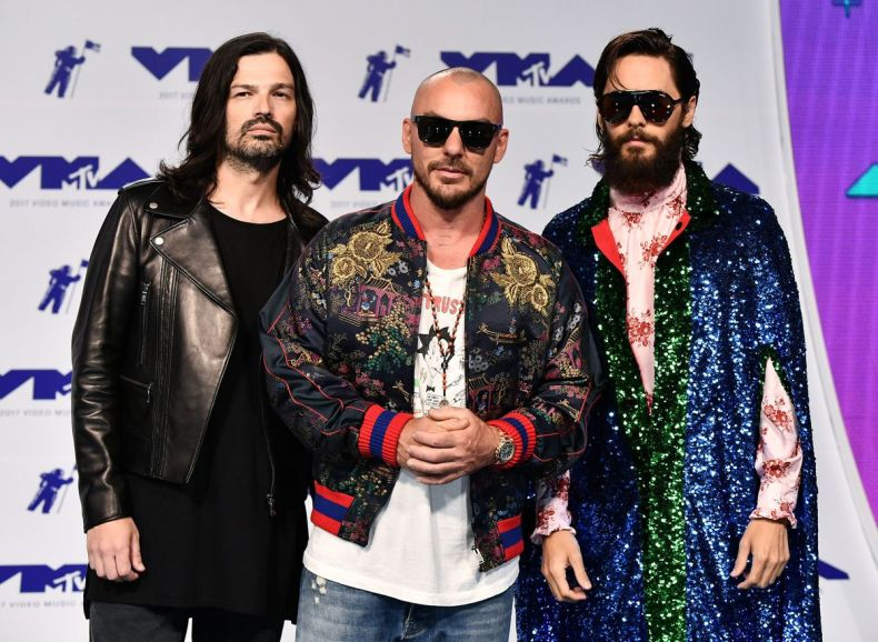 Mandatory Credit: Photo by Rob Latour/REX/Shutterstock (9028015be) Tomo Milicevic, Shannon Leto and Jared Leto of 30 Seconds to Mars MTV Video Music Awards, Arrivals, Los Angeles, USA - 27 Aug 2017