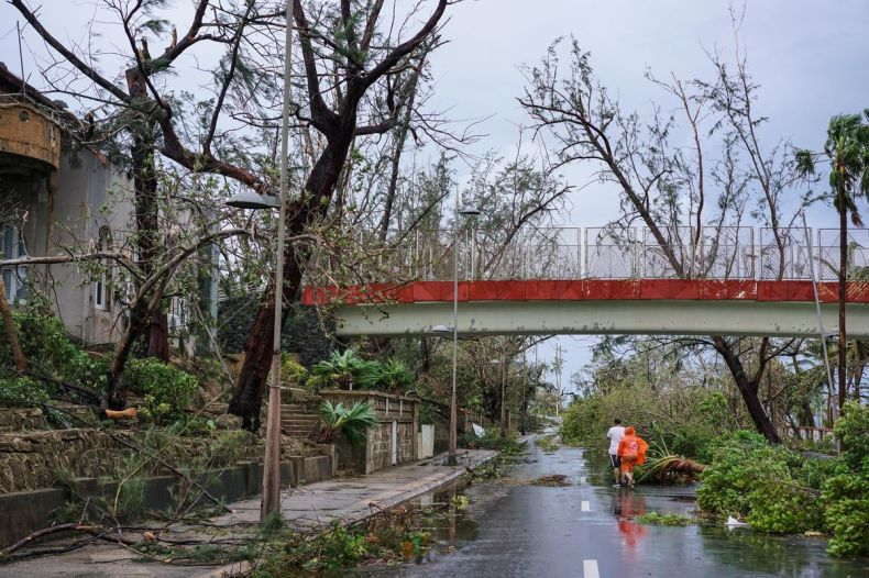 Trees block the streets after Hurricane Maria at Escambron Beach in San Juan, Puerto Rico on September 20, 2017.