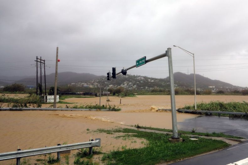 Flooded roads are seen as Hurricane Maria hits Puerto Rico in Fajardo, on September 20, 2017.