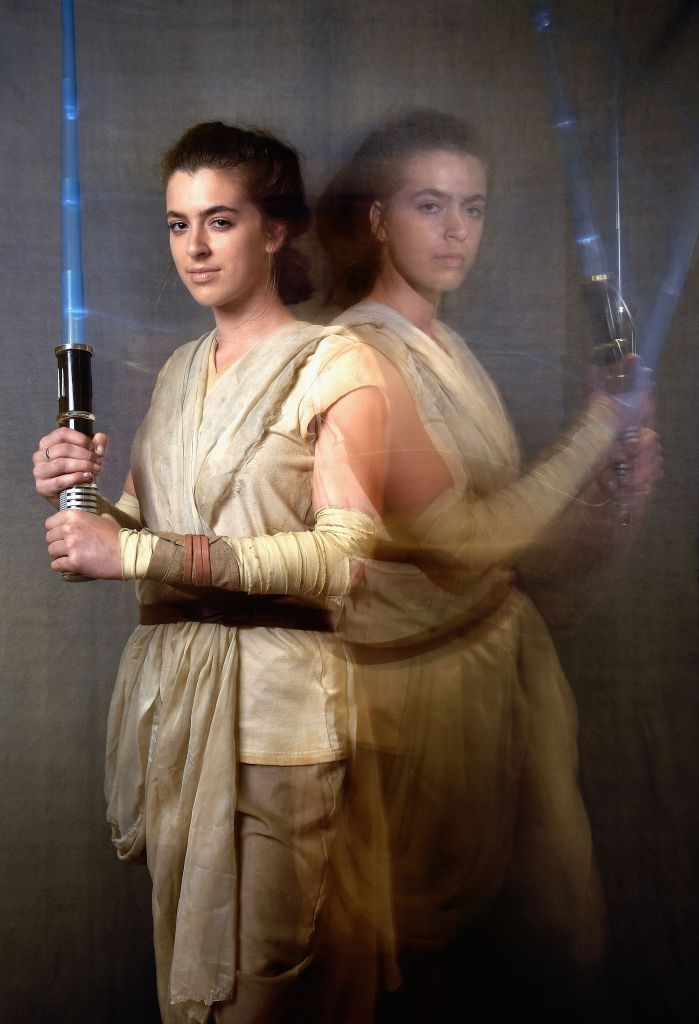 NEW YORK, NY - OCTOBER 05:  (Edito's Note: Multiple exposure in camera) A cosplayer dressed as Rey from Star Wars poses at the 2017 New York Comic Con - Day 1 on October 5, 2017 in New York City.  (Photo by Mike Coppola/Getty Images)