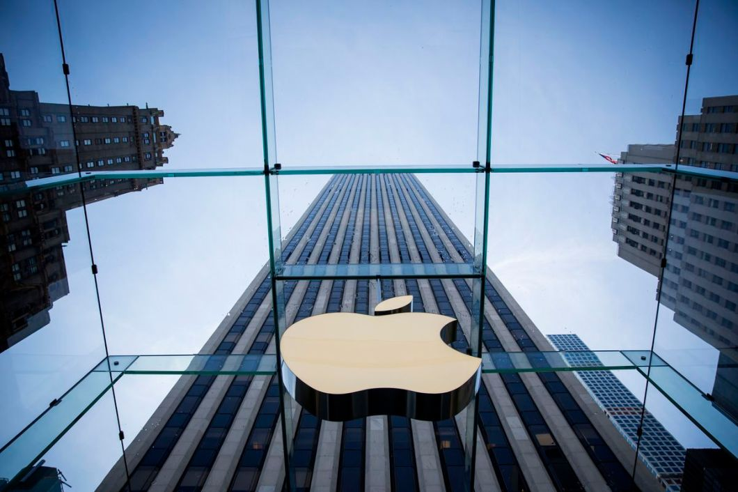 NEW YORK, NY - JUNE 17:  The Apple logo is displayed at the Apple Store June 17, 2015 on Fifth Avenue in New York City. The company began selling the watch in stores Wednesday with their reserve and pick up service. Previously the product could only be ordered online. (Photo by Eric Thayer/Getty Images)