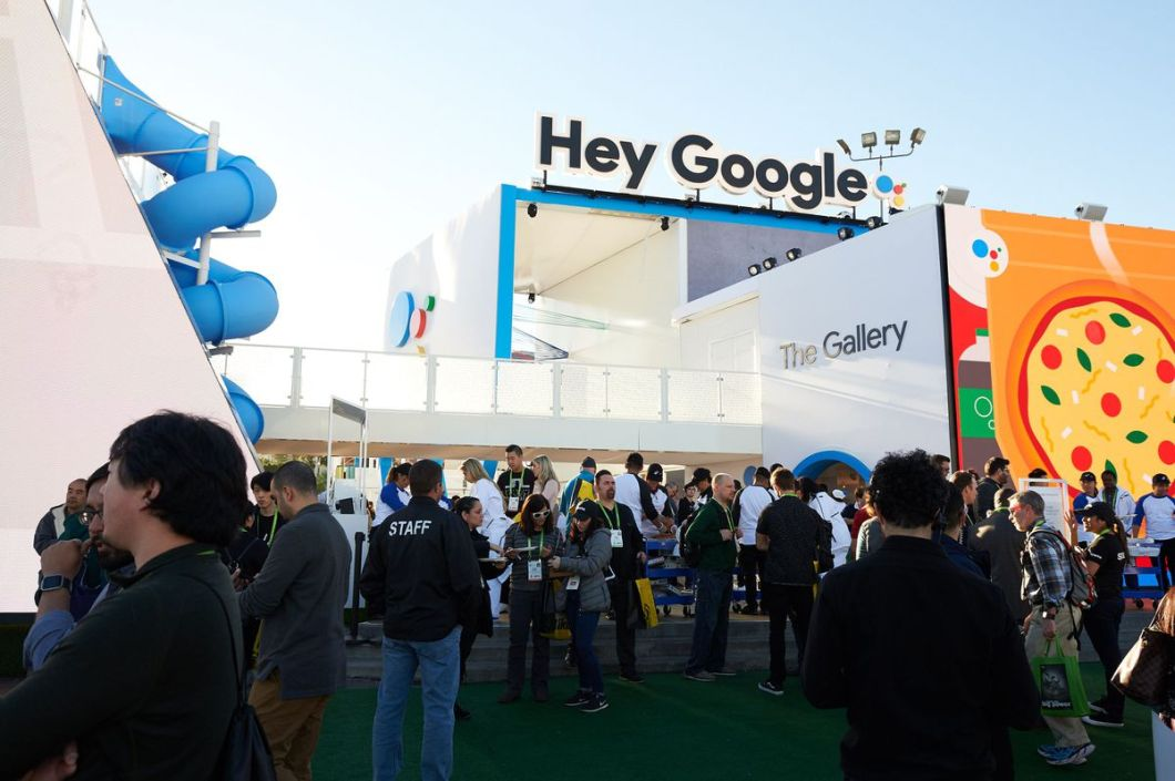 Google's huge booth across from the Las Vegas Convention Center.