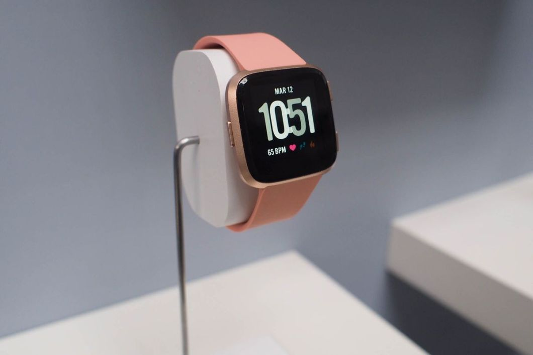 The rose gold Fitbit Versa