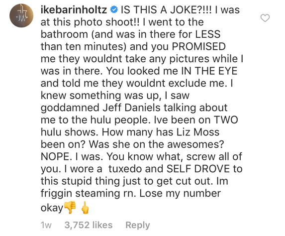 Ike commenting on Mindy's Instagram.