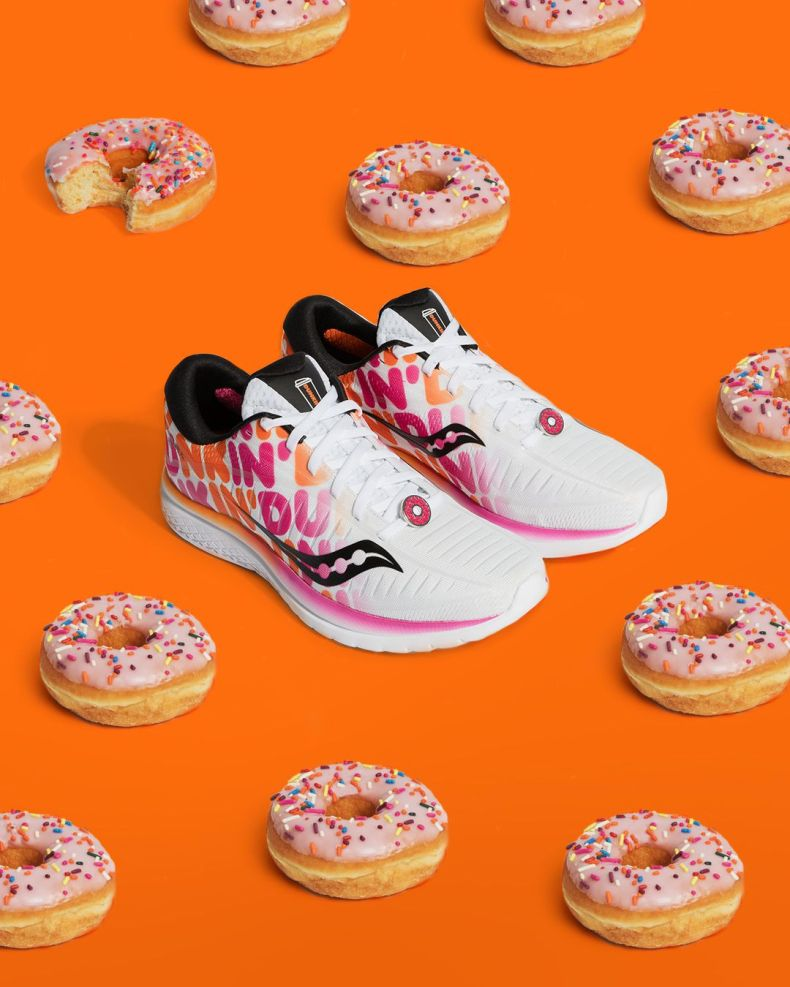 The shoe comes packaged in a custom Dunkin' donut inspired box