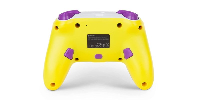 PowerA's Waluigi controller for Nintendo Switch as seen from the back.