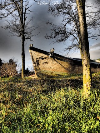 Abandoned old boat on a shore
