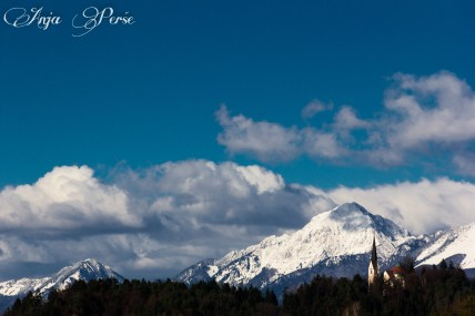 Homec church, trees and Kamnik-Savinja Alps