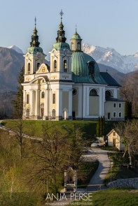 Church of Saint Anna in Tunjice, with Alps in backround