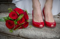 Flower bouquet and red shoes