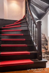 Wooden stairs with red carpet