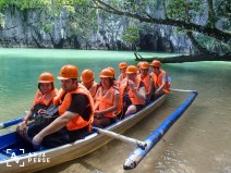 So this is our group in front of Underground River.