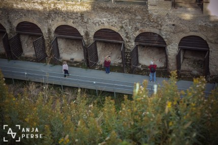 Tourists looking at the bodies in Herculaneum