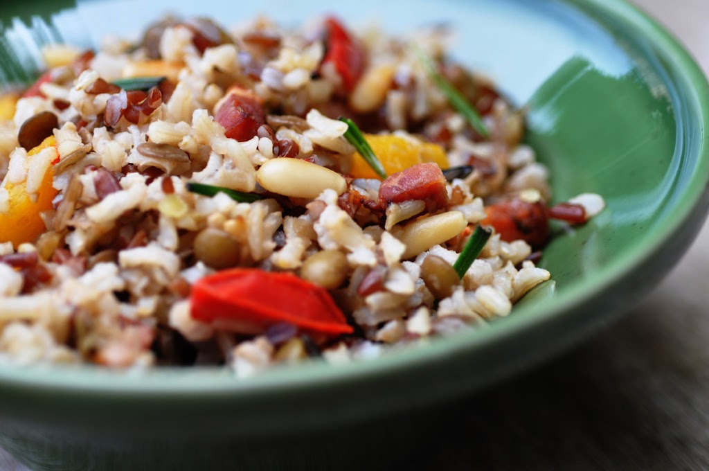 Cold Rice Salad With Rosemary Bacon And Veggies Anja S Food 4 Thought