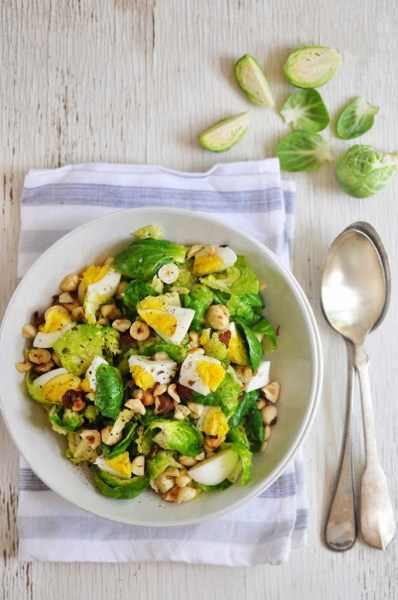 Brussels Sprouts & Egg Salad with Hazelnuts, see more at http://homemaderecipes.com/healthy/18-brussel-sprout-recipes/