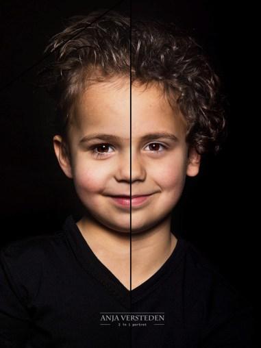 half/half foto portret, 2in1 portret van broers