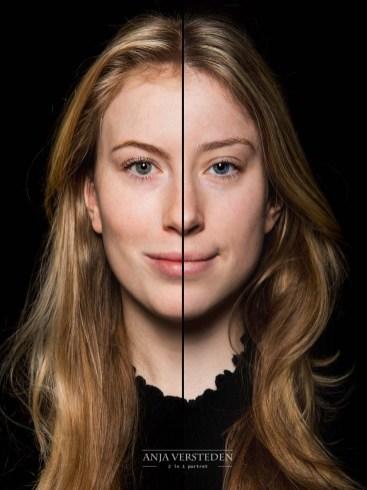 Gesplitste foto | twee gezichten portret