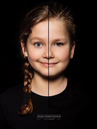 twee halve gezichten in foto portret
