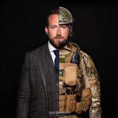 Burger vs Militair 2in1 foto portret