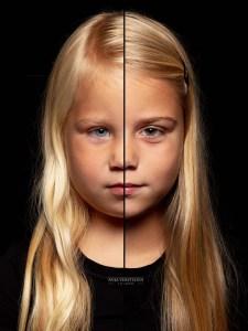 Twee in een duofoto portret