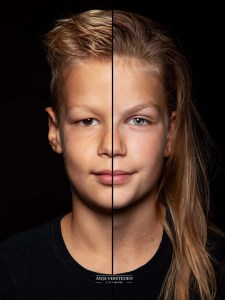 Twee gezichten in een foto
