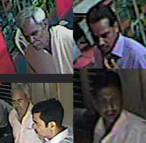 Enlarged pics of the thieves caught on camera
