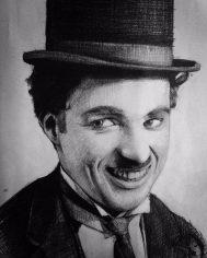 Karakalem Charlie Chaplin portre çizimi