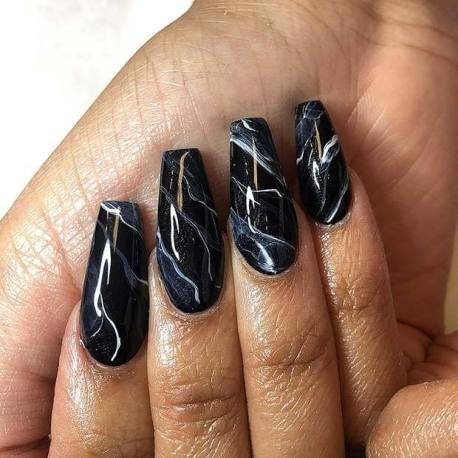23 black nails with glitter nail art ideas to copy in 2020