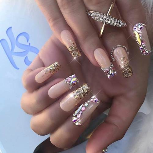 Stunning Gold Nails with Diamonds