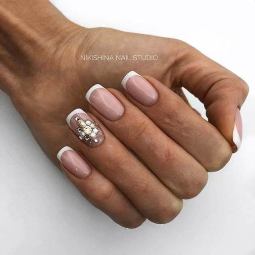 Accent Nail Art with a Diamond