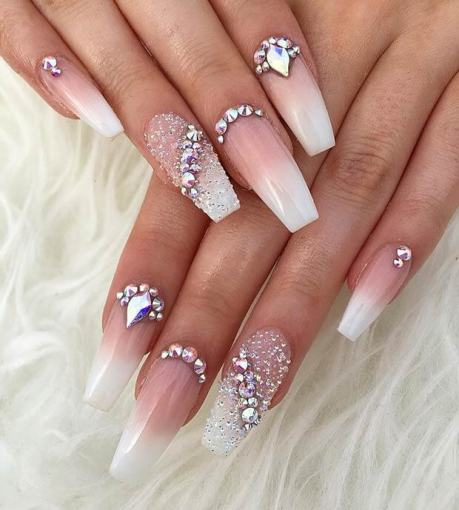 Roses and Diamonds Nail Art Design