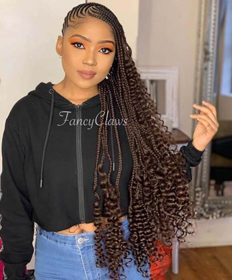 Lemonade Braids to The Side with Curly Ends