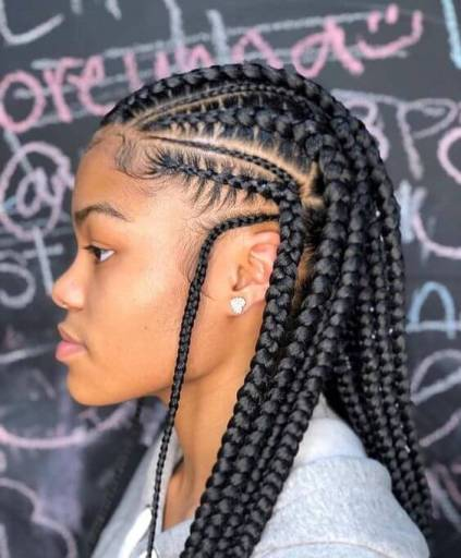 Fulani long feed in cornrows
