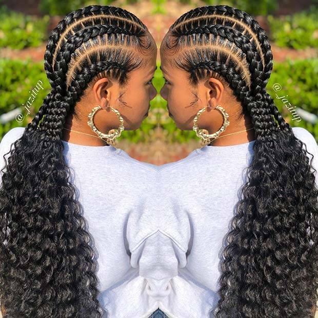 Bohemian Feed-in Braids ponytail