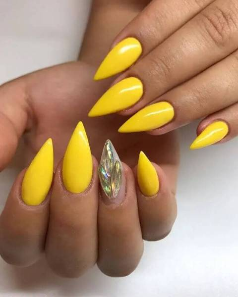 Bright Yellow Acrylic Nails Stiletto