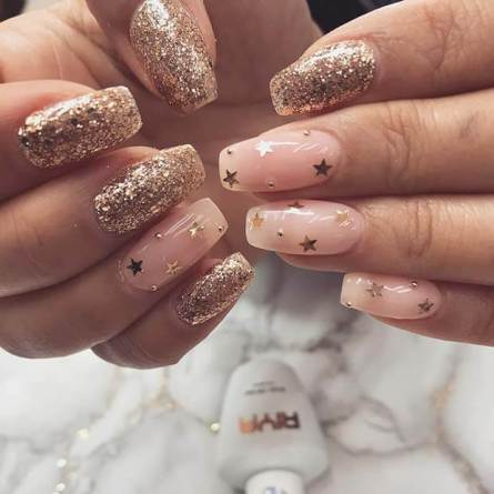 Gold Glitter Nails with Stars