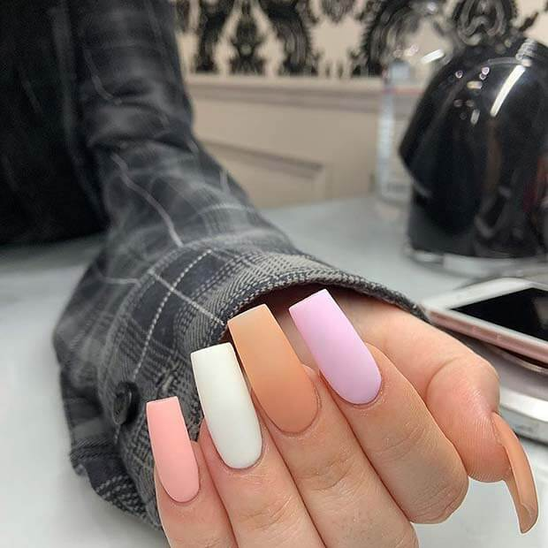 Long tapered square acrylic nails