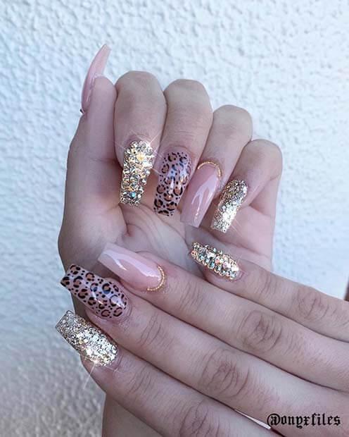 Glitzy Leopard Nail Design