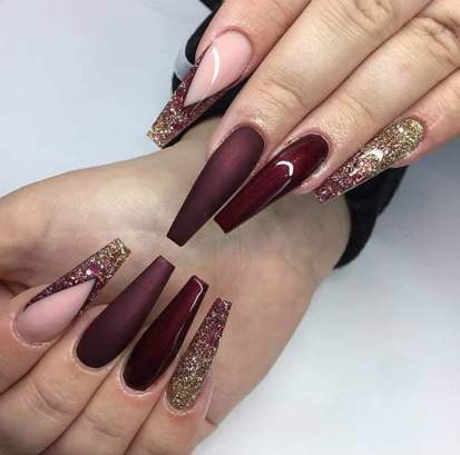 Long Coffin Burgundy Nails