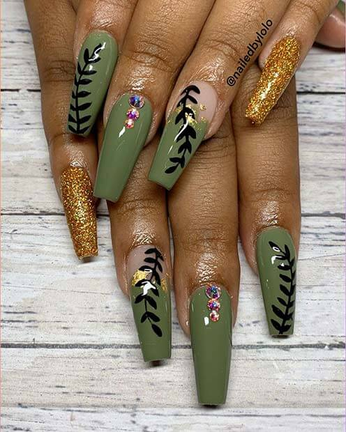 Olive green nail Art with Rhinestones