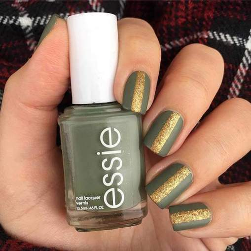 Matte Olive Nails with Gold