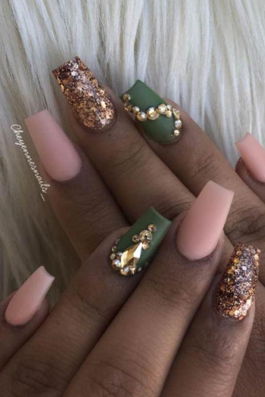 Cute Camo Coffin Nails