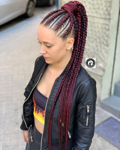 3. Red Box Braids on White Girl