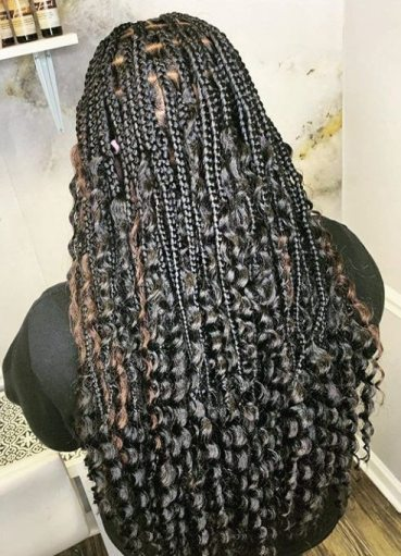 Lemonade braids with curly ends