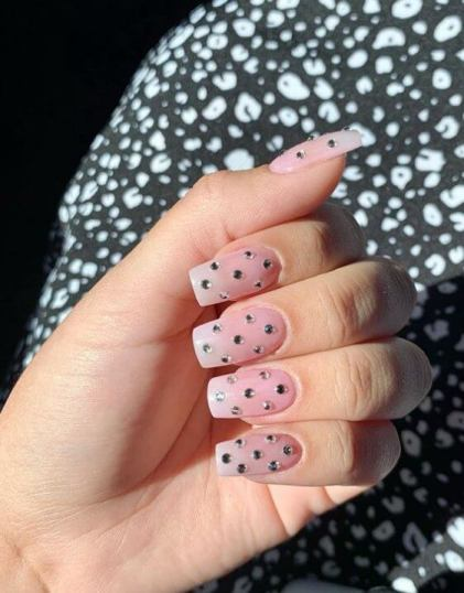 Pink Nails with Crystals