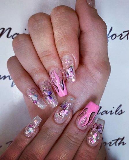 Pink Nails with Sparkle