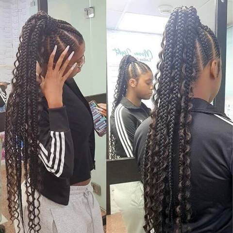 Weave ponytail with braiding hair