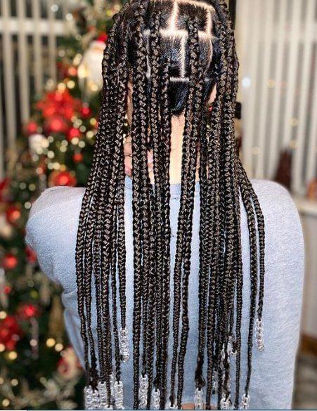 Jumbo knot less braids with beads