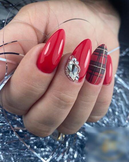 Red Matte Nails with Rhinestones